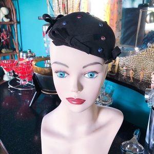 Vintage 1940s Hat Pearl Tilt Pinup Rockabilly